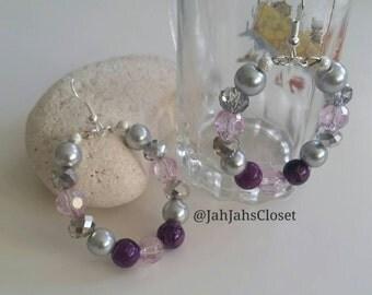 Bead Hoop Earrings Womens Handmade - Purple & Silver - Silver Plated