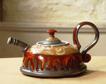 Ceramic Teapot with Colorful Hand Painted Decoration, Red Pottery Teapot, Art Pottery, Danko Pottery, Ceramic art
