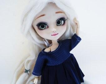 pullp/blythe dress, japan school uniform, blue