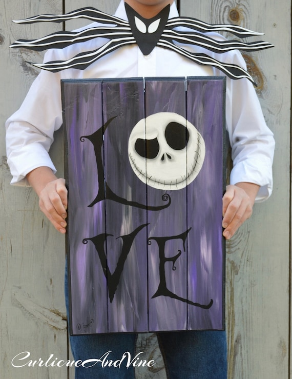 The Nightmare Before Christmas Inspired - Pallet Wood - Jack Skellington Inspired- Wood - Sign - Upcycled Pallet Wall Art -