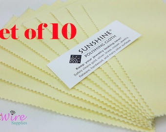 "Set of 10 Sunshine Polishing Cloths, 7 1/2"" X 5"", Non-Scratch, Jewelry Cleaner, Tarnish Remover, for Gold, Sterling Silver, Brass and Coppe"