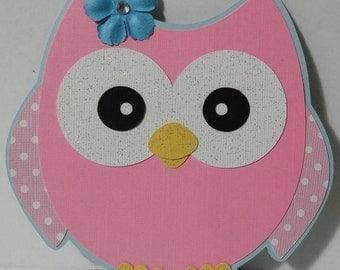 Owl invitation, personalized owl invitation, first birthday, blue and pink owl, owl invitations with envelopes