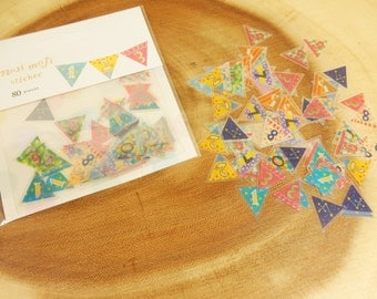 Bunting Flag Stickers, Number Flags, Cardmaking Supplies, Transparent Flake Stickers, Numbers 0-9, Bunting Flags