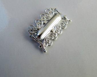 Multi brin bracelet tube 4 lignes lignes or filigrane d'argent Bali balinais fleuri concepteur fermoir 925 fermoir en argent