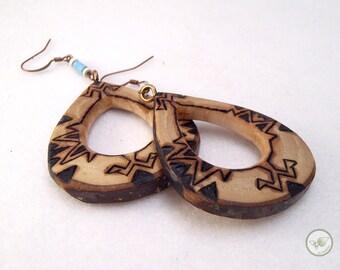 Wooden drop aztec earrings, tribal pyrographies