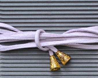 Knot-necklace in violet with golden metalendings