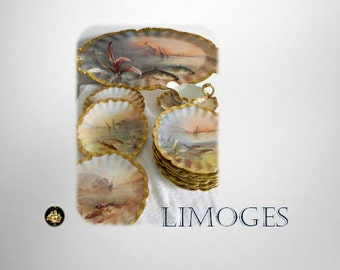 Laviolette RARE Limoges fish plates tray set signed Mulville - Hand Painted - circa 1900