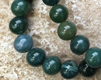 "Moss Agate Beads - 10mm Round Moss Agate Beads, Natural Gemstone Beads - FULL 16"" strand (about 39 beads) - G200"
