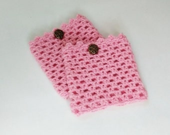 Boot cuffs with metal buttons