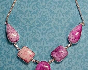 Ocean Jasper Swirls Necklace Pendant Sterling Silver Pink Purple
