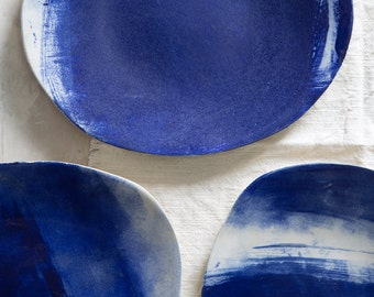 Ceramic blue and White Platter,Ceramic Oval Tray,Ceramic Serving Plattere,Cheese Platter,Gift For Her