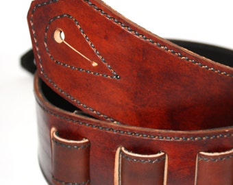 Handmade Brown leather guitar strap, adjustable with Black suede for backing, sewn with black thread