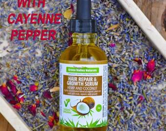 Hair Repair & Growth Serum. Hair serum, hair oil. Seals split ends, repairs, helps growth. Hemp seed oil,coconut oil. Organic hair treatment