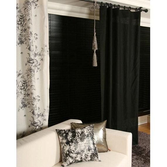 panneau de rideau rideau lin noir