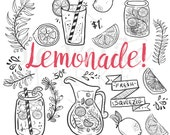 Doodle Hand Drawn Lemonade Summer Clip Art, Mason Jar Clipart, Lemonade themed Illustration Clipart, PNG Lemon, DIY Coloring