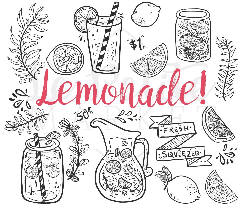 doodle hand drawn lemonade summer clip art mason jar clipart