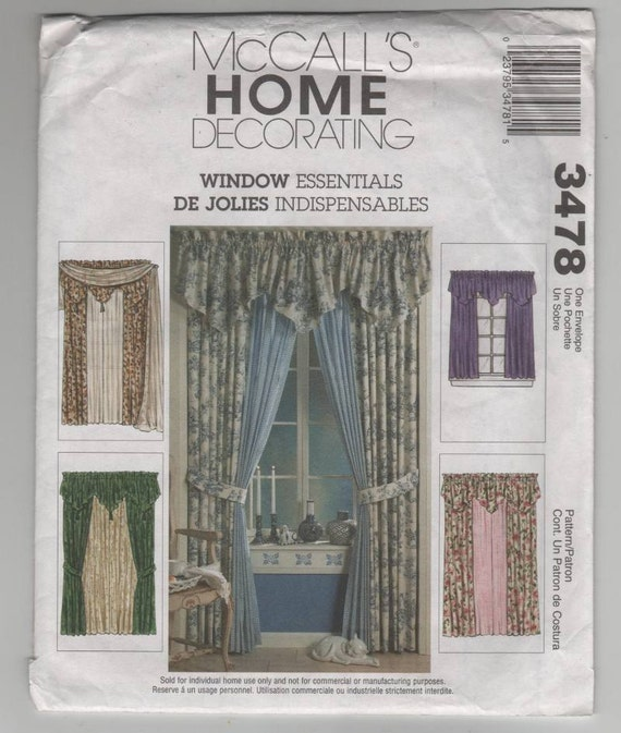 McCalls 3478 Sewing Pattern For Curtain Panels Valance And