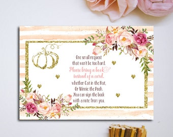 Printable Pumpkin Bring A Book Instead Of A Card Floral Pink And Gold Baby  Shower Book