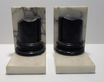 Alabaster Marble Bookends Made in Italy Onyx Bookends Black Onyx Bookends Vintage Bookends Hand Carved Bookends