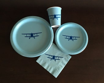 Airplane Party Pack - Plane Birthday Plates - Pilot Party - Airplane Baby Shower - Clouds Shower - Flying Theme - Travel Party Cups - Fly