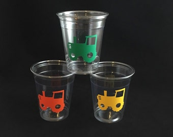 Tractor Party Cups - Farm Party Cups - Heavy Machinery - Barnyard Bash Cups - Cowboy Party - Tractor Pull - Rodeo - Farmer Boy - Party Ideas