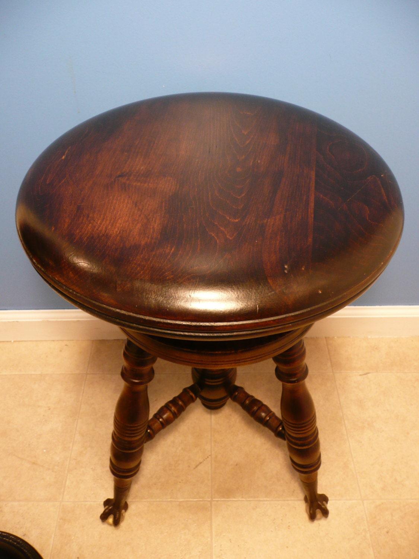 Antique Victorian Mahogany-Wood PIANO STOOL Swivel Seat ...