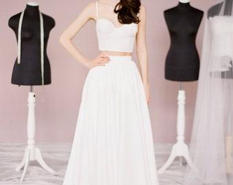 Patty Top // Bridal separates / Wedding crop top / Bridal top / Wedding lace top / Bridal corset top / Wedding corselette / Alternative