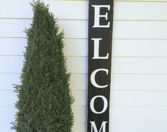 """WELCOME painted wood sign, great for your entrance!  Tall 48"""" x 5.5"""", you pick your colors."""