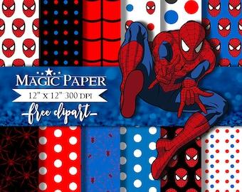 50% OFF SALE Spiderman Digital Papers, Paper, Scrapbook