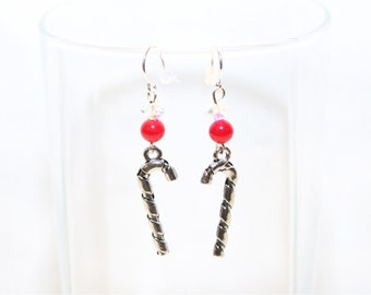 Candy Cane Earrings - Christmas Earrings - Holiday Earrings