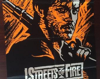 Streets of Fire Silkscreen (1984) / Vintage Orange Silkscreen Movie Poster for Streets of Fire