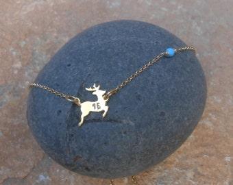 Lucky Charm , Turquoise bead, Silver 925 deer, 18kt goldplated deer pendant,Lucky deer,Sweet 16