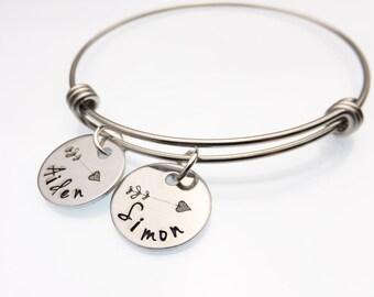 Hand Stamped Mother's Bracelet   Arrow Kid's Name Jewelry   Mommy Bracelet   Grandmother's Bracelet   Personalized Jewelry   Kid Names