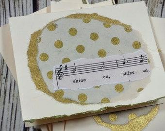 Kate Spade Inspired Gold Polka Dot Shine On Music Notecard Set