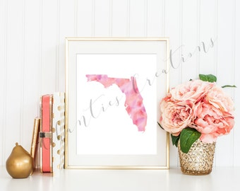 Florida State Pink Watercolor Printable Art. Florida State Love Printable. Florida Silhouette Outline Watercolor State.