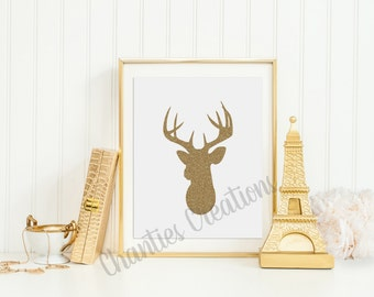 Deer Head Silhouette Gold Glitter Wall Art Printable 8x10