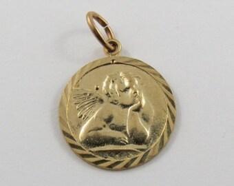 Michaelangelo's Cherub from the Sistine Madonna 10K Gold Vintage Charm For Bracelet