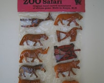 Reduced! Set of 10 Hand Carved African Game Safari Miniature Animals. Made in Kenya. Lion, Zebra, Elephant, Turtle, Rhino, Giraffe Etc New