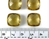 Cognac Quartz AAA  Cushion Briolette Checkerboard  14x14 mm  Av. weight 9.20 ct Hand Crafted   - 1 pc  Natural Genuine Brazil Cut