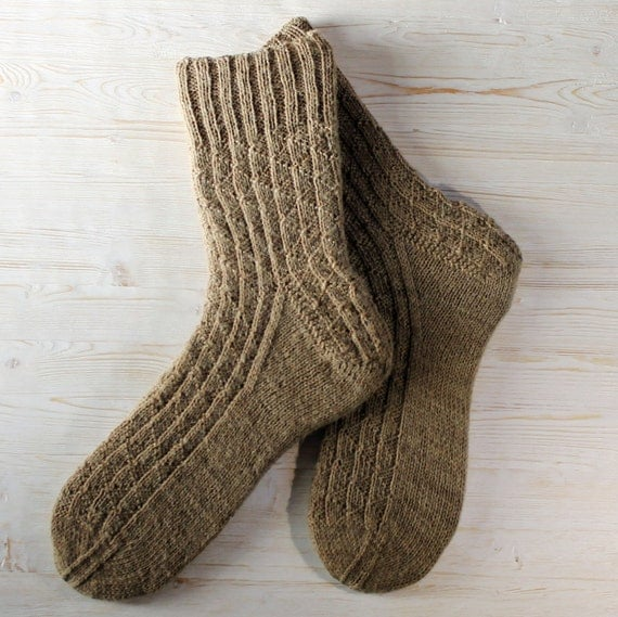 Mens Wool Socks Hand knitted warm knit boot socks boys