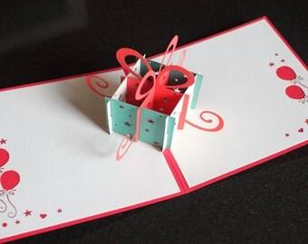 Birthday gift box pop-up card