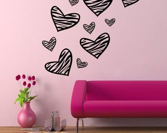 Zebra Print Hearts Wall Decal