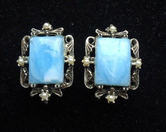 Blue Marbled Art Glass with Faux Seed Pearl and Pewter Tone Ornate Metal Setting Clip Back Vintage Earrings