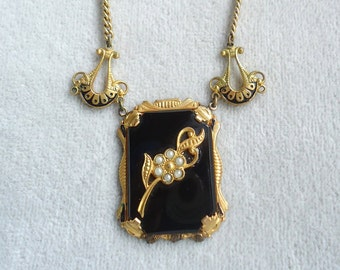Antique Jet Black Glass and Faux Seed Pearl Victorian/Lavaliere Pendant Necklace