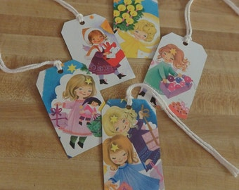 Set 5 Vintage Christmas Tags from Recycled Old Book,  Angel Labels, Angel Tags, Angel Retro Christmas Tags, Vintage Gift Tags, Angel Labels