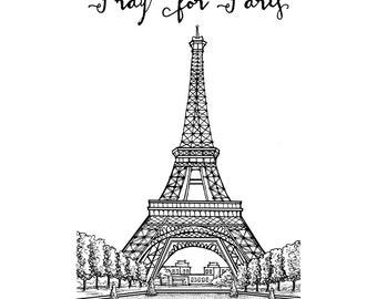 Pray for Paris, Eiffel Tower, La Tour Eiffel, Pen and Ink Print, 5x7, 8x10, 11x14, 13x19, Architectural Print, Pen and Ink, Decor, Paris