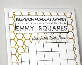 Emmy Awards Party Game / Television Academy Awards Party Game Squares / Printable / 2016 Emmys Pool