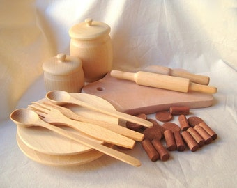 Play kitchen set. Baking set for kids. Wooden baking set.  Wooden toys.