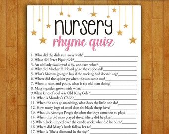 Baby Shower Game Nursery Rhyme Quiz - CORAL and GOLD - Printable Digital Instant Download - Stars and Night Gender Neutral Boy Girl Shower