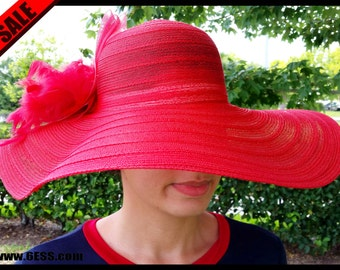 RUSH ORDER- Hot Red Kentucky Derby Hat with Feather,Derby Hat,Red Fascinator,Bridesmaid Hat,Wedding hat,Bridal Wedding Hat,Tea Party Hat
